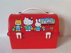 Vintage 1981 80's Sanrio Hello Kitty Red Plastic Lunch Box Lunchbox | eBay