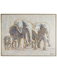 Graham & Brown Metallic Elephant Family Handpainted Framed Canvas Wall Art