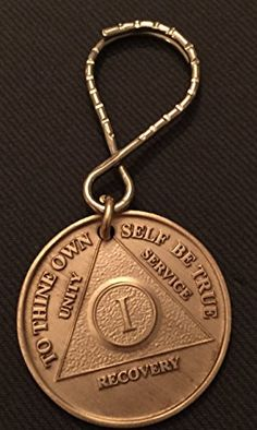 Solid Copper Step 10 Ten Keychain Alcoholics Anonymous AA Medallion Key Chain