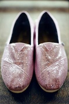 Celebrate your big day this summer with a sparkly pair of TOMS. http://bridalmusings.com/2012/03/playful-pink-blue-wedding-bride-wore-sparkly-glitter-toms-closer-to-love-photography/