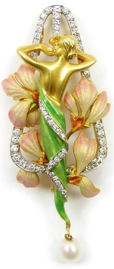Art Nouveau enamelled gold, diamond and pearl brooch-pendant by Lluis Masriera, Spanish c.1900.  Via SJ Philips .: