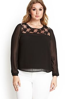 Embroidered Floral Blouse | FOREVER21 PLUS - 2000122545