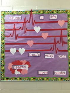 Music Education Bulletin Boards Display Ideas For 2019 February Bulletin Boards, Valentines Day Bulletin Board, Class Bulletin Boards, Preschool Music, Teaching Music, Preschool Bulletin, Valentine Music, Kids Valentines, Saint Valentine