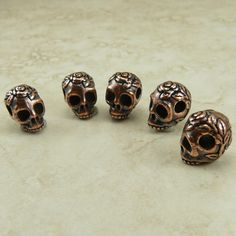 5 TierraCast Horizontal Large Hole Rose Skull Beads by Dragynsfyre