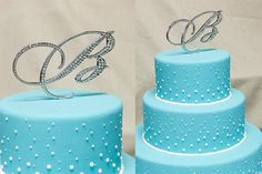 A-Z Initial Wedding Cake Toppers in Elegant Script Letter Style with the Fine Set-In Rhinestones. $33.95, via Etsy.