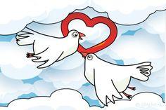 """Gratis e-card: """"Liefdes duifjes"""""""