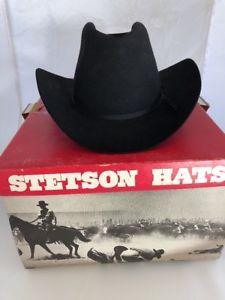 42bfc6a9c05e7 Stetson Rancher Black 4X Beaver Fur Felt Cowboy Hat SZ 7 1 2 Town Country