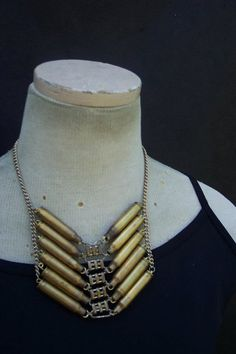 Tribal style bullet casing statement necklace by thevintagevanity