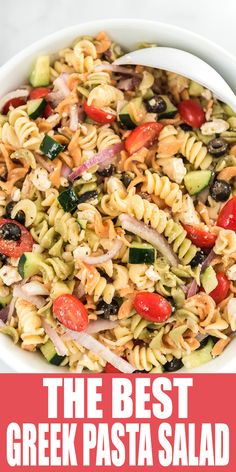 The Best Greek Pasta Salad Is An Easy Side Dish Recipe For Potluck's, Bbq's and Parties Best Pasta Salad, Greek Salad Pasta, Pasta Salad Recipes, Soup And Salad, Simple Pasta Salad, Best Greek Salad, Recipe Pasta, Pasta Food, Potluck Recipes