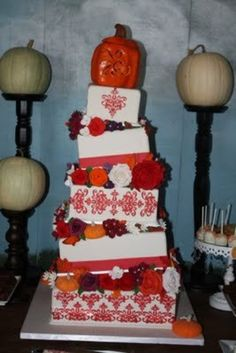This is the cake that I made for my own fall wedding. All of the flowers and pumpkins are edible. Fall Wedding Cakes, Wedding Themes, Wedding Ideas, Wedding Stuff, Fire And Ice Roses, Tiffany Wedding, Cake Tutorial, How Sweet Eats, Pretty Cakes