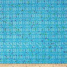 Indian Batik Montego Bay Patchwork  Aqua/Silver from @fabricdotcom  From Textile Creations, this Indian batik is perfect for quilting, apparel and home decor accents. Colors include blue, purple and green with silver metallic accents.
