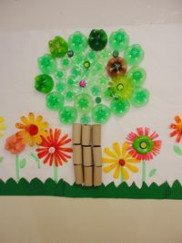 Great for recycling and Earth Day project! This would make a fabulous bulletin board too. Attach with glue dots or hot glue. Earth Day Projects, Earth Day Crafts, School Art Projects, Nursery Activities, Preschool Themes, Activities For Kids, Recycled Crafts, Diy And Crafts, Arts And Crafts