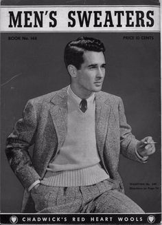 Coats Clark 148 Mens Sweaters Knitting Patterns Cardigan Vest Gloves Scarf 1940 #CoatsandClark #KnittingPatterns