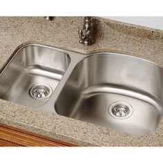 Polaris Sinks PR1213-16 Offset Double Bowl Stainless Steel (Silver) Kitchen Sink (Large Right Bowl)