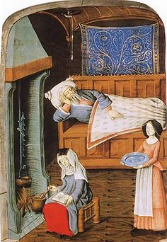 Preparing Medication from Quart Volume de histoire scolastique   1470   The invalid lies on a settle with parchmain panels. The nurse sits on a turned three-legged stool. Pear Tree Miniatures Gallery