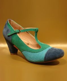 Love this Chelsea Crew Blue & Green Malibu T-Strap Pump - Women by Chelsea Crew on #zulily! #zulilyfinds