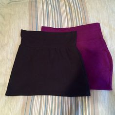 Mini Skirt Bundle Black American Apparel skirt and dark purple wet seal skirt. Both size small. American Apparel Skirts Mini