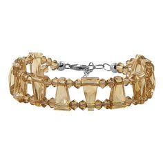 Plus Size SCBR294  .925 Sterling Silver Geo-metric Golden Shadow Crystal adjustable Bracelet MADE WITH SWAROVSKI ELEMENTS® image