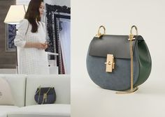 "Choi Ji-Woo 최지우 in ""Temptation"" Episode 9.  Chloe Fall 2014 Collection 'Drew' Bag in Merino Blue #Kdrama #Temptation 유혹 #ChoiJiWoo"