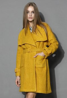 Yellow Catch Up with Mustard Belted Coat @ Chic Wish $95 CUTE