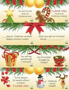 Christmas lunchbox notes - printable