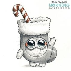 Official Post from Chris Ryniak: Stocking Suit! Cute Monsters Drawings, Cartoon Monsters, 3d Drawings, Kawaii Drawings, Little Monsters, Disney Drawings, Drawing Artist, Painting & Drawing, Monster Drawing