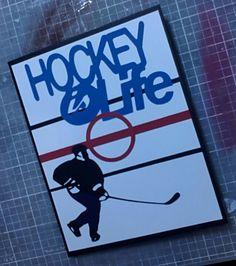 #Cricut sports mania Hockey card handmade by Kelli Helton #hockey #handmade #card