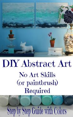 DIY Abstract Art Tutorial - she makes it look so easy I think even I could do this! eclecticallyvintage.com  #bHomeApp