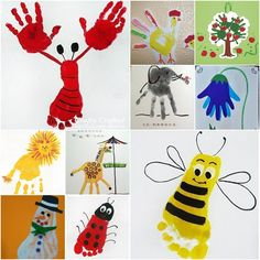 Creative Craft Ideas on Hand and Food print for Kids tutorial and instruction. Follow us: www.facebook.com/fabartdiy
