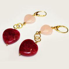 #Orecchini Metallo Anallergico Argento Colore Oro con #Quarzo-Rosa e #Ciliegia