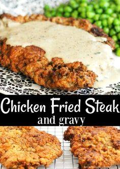 Chicken Fried Steak And Gravy - List of the best food recipes Chicken Fried Steak Easy, Fried Chicken Recipes, Meat Recipes, Dinner Recipes, Cooking Recipes, Recipies, Minute Steak Recipes, Dinner Ideas, Chicken Friend Steak