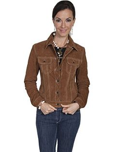 You will be able to blend your love of frontier style and modern flair with this jacket from Scully. This brown suede leather jacket is extra fun, thanks to the denim jean jacket-style design. This gorgeous Scully leather jacket has a metallic five-button front closure, and two button flap chest...  More details at https://jackets-lovers.bestselleroutlets.com/ladies-coats-jackets-vests/denim-jackets/product-review-for-scully-womens-suede-denim-style-jacket-l107-125/