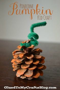 This fall themed Pinecone Pumpkin Kid Craft is SUPER simple to make and of course - really inexpensive. We are talking CENTS! Pinecone Crafts Kids, Pine Cone Crafts, Autumn Crafts, Pumpkin Crafts, Halloween Crafts For Kids, Thanksgiving Crafts, Pinecone Decor, Acorn Crafts, Winter Craft