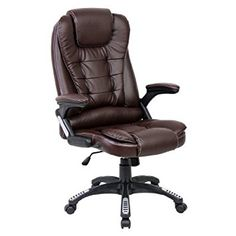 rio brown luxury reclining executive high back office desk chair faux leather swivel chesterfield presidents leather office chair amazoncouk