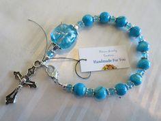 Handmade For You Beaded Complete Single Decade Rosary Bracelet, Blue Stone Beads, Swarovski Crystal, Crucifix, Catholic Prayer Jewelry RB8 by JewelsHandmadeForYou on Etsy