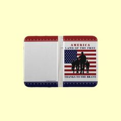 """USA Patriotic """"America... Land of the Free.. Thanks to the Brave!""""  Marching Soldiers silhouette Kindle case by XG Designs NYC. $47.60 #patriotic #military #kindle"""