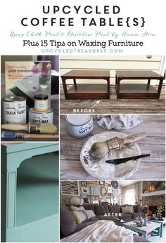 Check out these #Upcycled Coffee Tables Using Chalk Paint® PLUS 15 Tips on Waxing Furniture