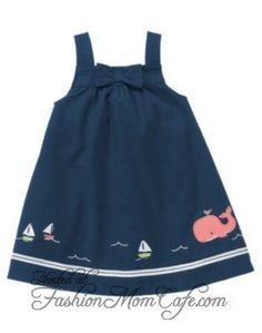 JANIE AND JACK Baby Whale Dress - navy w/pink whale