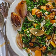 Wilted Kale Salad with Butternut Squash, Roasted Shallots and Feta   Food & Wine