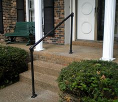 Need to build a DIY metal handrail? These 5 DIY stair railing kits are easy to assemble and install. Learn how our customers made their stairs safe with these simple metal handrail kits. Outside Handrails, Porch Handrails, Exterior Stair Railing, Stair Railing Kits, Metal Stair Railing, Metal Handrails, Stair Handrail, Hand Railing, Handrail Ideas