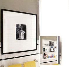 We came across this photo of a medicine cabinet while browsing through the September issue of Better Homes and Gardens. What a great idea to place a framed photograph on the door! This definitely dispels the myth that only a mirror can disguise a medicine cabinet...