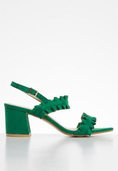 Slingback Frill Block Heels Green STYLE REPUBLIC Heels | Superbalist.com Green Style, Green Fashion, No Frills, Block Heels, Open Toe, Two By Two, Shoes, Women, Zapatos