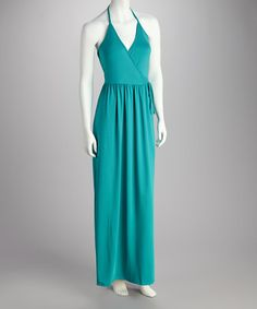Take a look at this Aquamarine Halter Dress by Feathers on #zulily today!