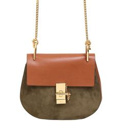 CHLOÉ Small Drew Suede & Leather Shoulder Bag (€1.740) ❤ liked on Polyvore featuring bags, handbags, shoulder bags, brown, suede shoulder bag, chloe handbags, suede leather handbags, brown suede purse and chloe shoulder bag