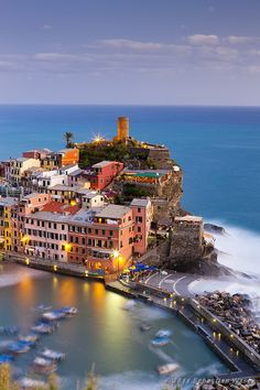 Dusk, Cinque Terre, Italy - the most beautiful place I have ever been too!!  must go back:)