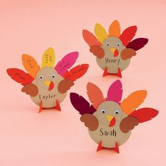 Write down all that you're thankful for on the feathers of these adorable turkeys! Makes for a fun Thanksgiving activity or adorable place cards! Kit includes: pre-cut shapes and googly eyes. Tools needed: glue stick, scissors and pen. Kit makes: 12 turke Thanksgiving Arts And Crafts, Fall Paper Crafts, Fall Arts And Crafts, Thanksgiving Activities For Kids, Thanksgiving Place Cards, Fall Crafts For Kids, Toddler Crafts, Holiday Crafts, Diy Turkey Crafts