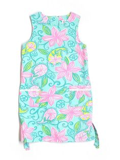 Girl Lilly Pulitzer Pink Blue Lazy Paisley Floral Flower Blue Pink Yellow Green Shift Dress Size 10 #LillyPulitzer #Everyday