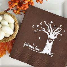 What's more romantic than his and her initials carved in the old oak tree years ago? These Autumn Love Tree cocktail napkins bring back memories of first kisses and romance to a fall wedding reception with the bride and groom's initials custom printed within a heart design on a large tree with falling autumn leaves. Below the tree is the phrase 'first comes love...' These cocktail napkins can be ordered at…