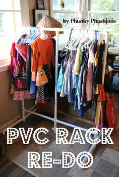 As you all know, in August I made a PVC Pipe Garment Rack. It turned out prett. As you all know, in August I made a PVC Pipe Garment Rack. It turned out pretty cool and I was pr Garage Sale Organization, Garage Sale Tips, Small Closet Organization, Organizing, Diy Garage, Garage Ideas, Organization Ideas, Garage Doors, Cool Diy