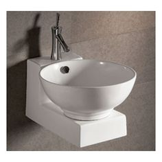 Whitehaus Isabella Collection Basin Sink with Overflow and Matching Wall Mount Base
